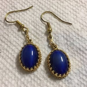 Avon Blue Oval Dangle Pierced Earrings